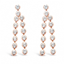 Rose Gold Plated Drop Earrings with Crystal Stones